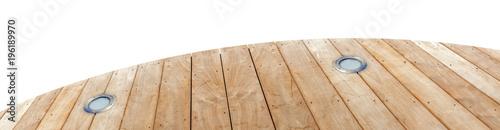 plage de piscine en bois brut avec spots d'éclairage intégré - 196189970