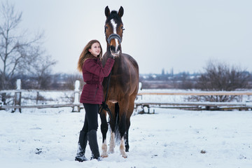 young woman with a horse on nature in winter on snow
