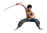 3D Rendering Fighting Monk on White - 196190557