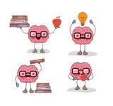 brain cartoon set with glasses and books and apple and light bulb in white background vector illustration