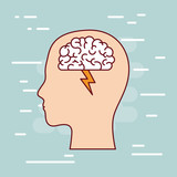 head silhouette with brain and lightning in white background light blue vector illustration - 196191147