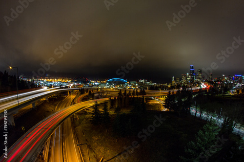 Fotobehang Nacht snelweg Seattle Light Trails