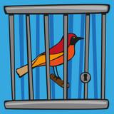 oiseau - cage - liberté - prison - concept - libre -symbole - enfermer - prisonnier - captivité - 196193760