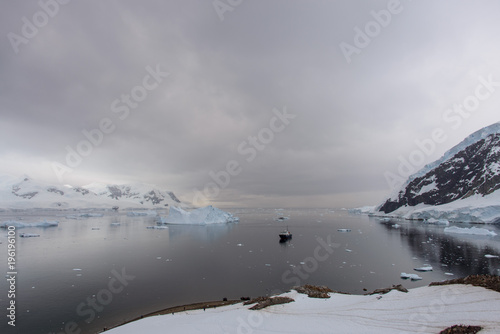 Expedition ship in Antarctic sea