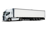 Cargo truck on white