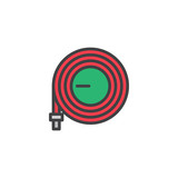 Watering hose filled outline icon, line vector sign, linear colorful pictogram isolated on white. Hosepipe symbol, logo illustration. Pixel perfect vector graphics - 196196761