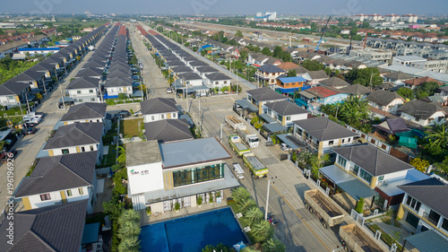Poster top view village, Aerial city view from flying drone , Thailand. top view landscape