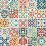 ornate portuguese decorative tiles azulejos. Vector. - 196197130
