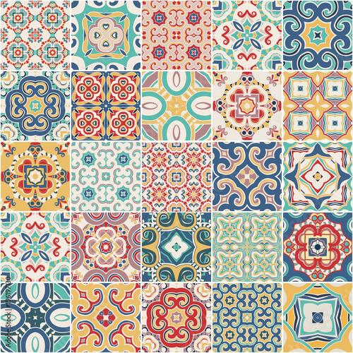 ornate portuguese decorative tiles azulejos. Vector. - 196197130