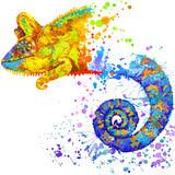 chameleon lizard hand drawn watercolor illustration