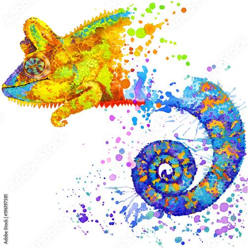 jaszczurka kameleon ręcznie rysowane akwarela ilustracja