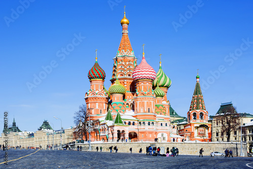 In de dag Moskou Москва, Россия, Храм Василия Блаженного на Красной площади.