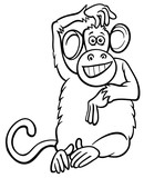 funny monkey character cartoon coloring book - 196205944