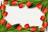 Red tulip flowers in corner arrangement - 196211321
