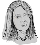 Hand drawn of asian woman face