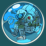 Newborn astronaut and planet earth. Humanity nature environment  - 196214326