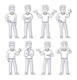 Young Man Stands in Different Poses - 196215726