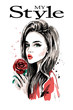 Hand drawn beautiful young woman portrait. Fashion woman with red rose. Sketch.