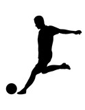 vector of silhouette soccer player kicking the ball