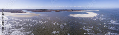 Aerial view of beaches with dangerous currents and rip tides. - 196219994