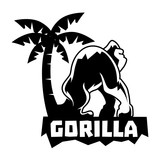 Gorilla Logo With Tree and Text - 196224352