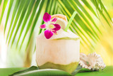 Tropical exotic fresh coconut water drink palm