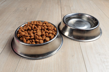 Bowls with dog food and water