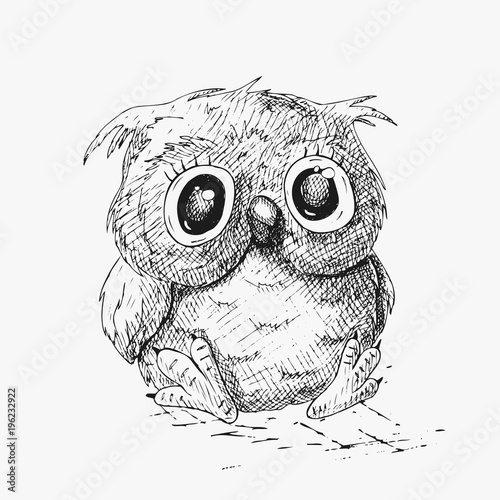 Tuinposter Uilen cartoon Hand drawn sketch fun owl. Vector illustration