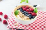 Yogurt with blueberry, raspberry and oatmeal flakes - 196234925
