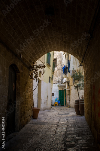 Vertical View of a Coloured Alley in the Historic Centre in San Paolo District. Bari, South of Italy