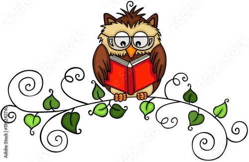 Tuinposter Uilen cartoon Owl reading a book on branch