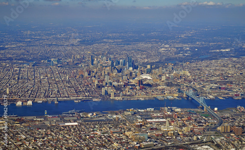 Poster Aerial view of the skyline of the city of Philadelphia in Pennsylvania