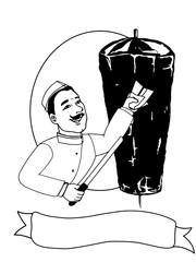 kebab doner cartoon illustration drawing and man black white