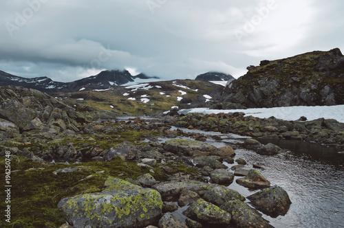 Sticker Little stream in Norway wild.