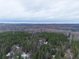 View of the autumn forest in Karelia with quadrocopter