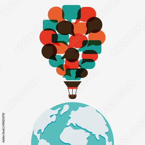 Aluminium Wereldkaarten Hot air balloon made of speech bubbles over world map