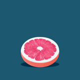 Grapefruit in pop art style Half of grapefruit with pink pulp is lying on a dark blue background Trendy photo with text space