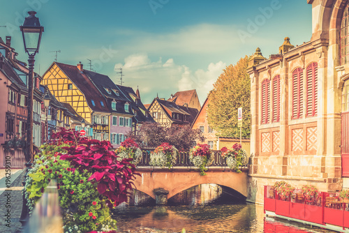 Fototapeta Colorful traditional french houses and shops in Colmar, Alsace