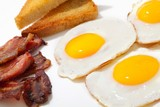 Breakfast meal - eggs, toast and bacon - 196261790