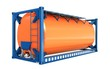 3d offshore oil tank, orange  container on white background 3D illustration