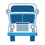 school bus icon over white background, blue shading design. vector illustration