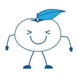 kawaii happy mandarine icon over white background, blue shading design. vector illustration