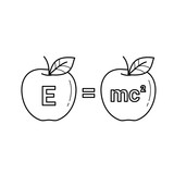 E equal mc 2 vector line icon isolated on white background. Physics formula - e equal mc 2 line icon for infographic, website or app. - 196275789