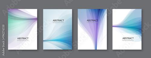 Blue line abstract set background. Vector illustration.