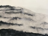 watercolor landscape mountain fog. asia art style.
