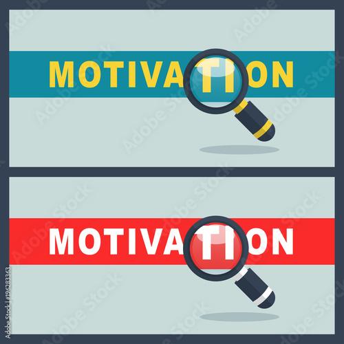 Fototapeta motivation word with magnifier concept