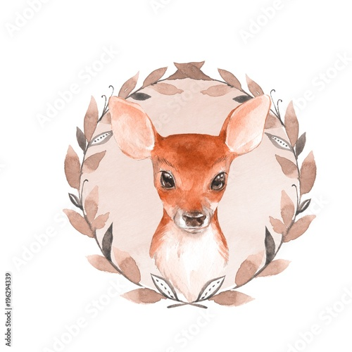 Baby Deer and wreath. Hand drawn cute fawn. Watercolor illustration - 196294339