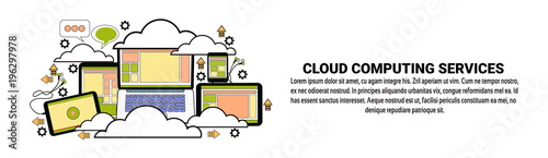 Cloud Computing Data Storage Concept Horizontal Banner With Copy Space Vector Illustration
