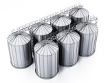 Corrugated steel grain silos isolated on white background. 3D illustration - 196300136