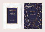 Fototapety wedding cards with marble texture and gold. design for cover, banner, invitation, card Branding and identity Vector illustration.